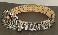 COWGIRL WESTERN STYLE LADIES BELT WITH ZEBRA PATTERN, STUDS & RHINESTONES SIZE L