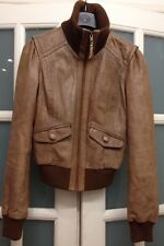 VGC OASIS TAN 100% REAL LEATHER ROLL NECK JACKET SIZE XS RRP £150
