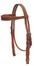 Showman MEDIUM OIL Argentina Cow Leather Basket Weave Tooled Headstall! NEW TACK