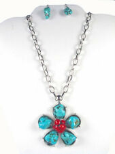 H6 Flower Floral Turquoise Coral NECKLACE EARRING SET Silvertone