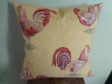 Decorative Pillow Cover Rooster and Hen Red Beige Purple Brown & Green Pattern