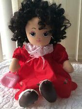 Vtg. Sugar Loaf Doll January. Black Curly Hair Birthday Month Red Dress Plush