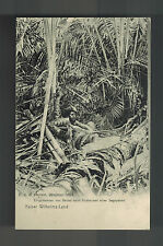 Mint 1904 German New Guinea BW RPPC Postcard native Man by Palm Tree Kaiser Land