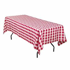 LinenTablecloth 60 x 102-Inch Rectangular Tablecloth Red and White Checker , New