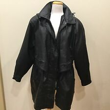 Midnight Velvet Genuine Leather Coat With Removable Leather Hood Sz XL Black