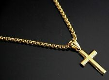 "24"" Men Stainless Steel Gold Box Chain Necklace Small Tiny Plain CROSS Pendant"