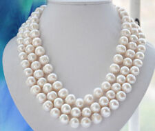 """Natural 10-11mm WHITE FRESHWATER Cultured PEARL NECKLACE 60"""""""
