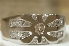14K SOLID WHITE GOLD NATURAL .77 CT DIAMONDS RING SIZE 8.25