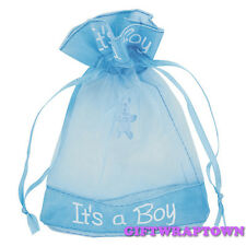 10 New Baby Shower Its a Boy Blue Organza Bags Pouch Favour Gift Bags 10 x 13cm