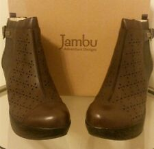 Jambu Leather Laser Cut Floral Design Wedge Ankle Boots Brown, Size 10M ~ NIB
