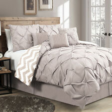 Luxurious Reversible 7-piece Comforter Set King Size Bedding Pinch Pleat Taupe