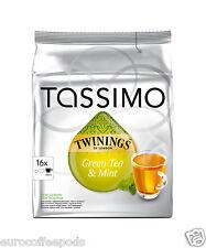 Tassimo Twinings Green Tea & Menta Capsules vainas 16 T-Discs 16 porciones