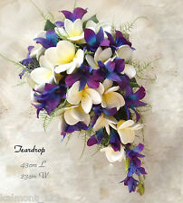 "Blue Purple orchids & Frangipani  ""Real Touch""  Bridal Teardrop Bouquet Set (1)"