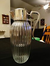 "Vintage 13""  Claret Wine Jug/Pitcher w/ Greek Key Silver Lid & Plastic Holder"