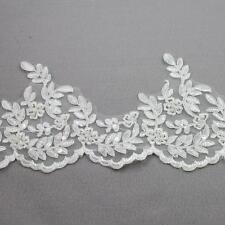 1 METRE BEADED IVORY 155mm BRIDAL LACE TRIMMING WEDDING DRESS TRIM VEIL HL2102