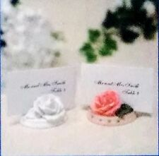 SET of 6 WHITE ROSE PLACECARD HOLDERS - WEDDING, SHOWER, DINNERS - NEW CUSTOM