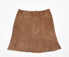 """Vintage Brown Leather AUTHENTIC A-Line Flippy Knee Length Skirt Size W32"""" L20"""""""