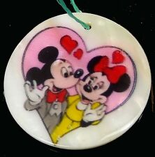 40mm Disney Mickey and Minnie Mouse Mother Of  Pearl Disc Pendant Bead