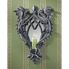 Medieval Gothic Twin Dragons Candle Holder Wall Mirror Sconce
