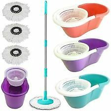 Easy mop 360* PLASTICbucket,BEST QUALITY WITH BEAUTIFUL COlOUR,WITH 3 REFILS