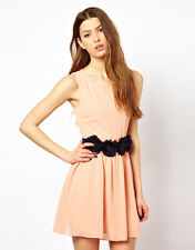 Max C Chiffon Skater Dress With Rose Waist Tie Belt in PINK-NAVY UK 12 - US 8