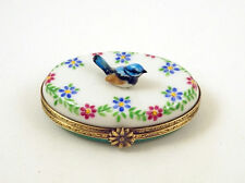 NEW HAND PAINTED FRENCH LIMOGES TRINKET BOX BLUE BIRD ON BEAUTIFUL FLOWERS