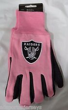 NFL NWT 2-TONE PINK NO SLIP UTILITY WORK GLOVES - OAKLAND RAIDERS