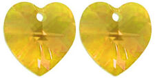 2 SWAROVSKI CRYSTAL GLASS HEART PENDANTS 6228, SUNFLOWER YELLOW, 10 MM