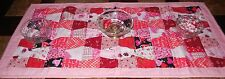 Handmade Valentine's Day QUILTED  TABLE RUNNER 38x17 Glitter  Red Pink Hearts