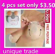 4 PC Set Breast Lift Up Bra Invisible Tape Boob Enhancers Silicone Nipple Covers