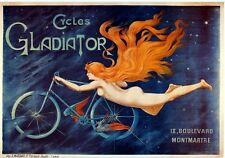 Gladiator Cycles Cycling Naked Woman/Girl Old Art Deco Small Metal/Tin Sign