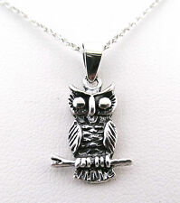 """925 Sterling Silver Double Sided Owl Pendant with an 18"""" Silver Chain / Necklace"""