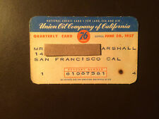 Union 76 Oil Company of California 1957 Vintage Collectors Credit Card