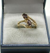 Very Nice Unusual Setting 9ct Gold Two Stone Garnet Twist Ring Small Size I