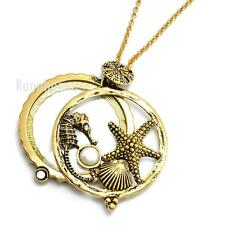 "Gold 5X Magnifying Glass Starfish Seahorse Pendant 31"" Chain Necklace SJ023G"