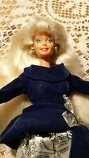 BARBIE DOLL WINTER VELVET AVON 1995 VINTAGE SUPERSTAR ERA SILVER BLUE DRESS