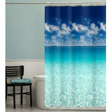 "PEVA Vinyl Beach Shower Curtain 72"" Photo Real Blue Sea Ocean Sky Bathroom"