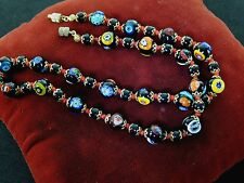 "Vintage Glass Venetian MURANO Necklace Millefiori Knotted Art ITALY 18"" Long"