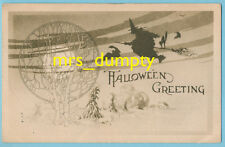 HALLOWEEN Gibson ~ Witch Silhouette Against the Sky ~ Bats ~ Sepia HTF POSTCARD