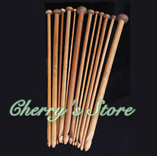 "10"" 25cm 12Sizes Afghan Tunisian Carbonized Bamboo Crochet Hooks Knitting Needle"