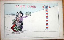 1910 Zane/Artist-Signed French New Year Postcard: Girls from Alsace & Lorraine