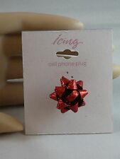 Icing Cell Phone Plug Dust Cover Christmas Red Glitter Bow For Iphone USA SELLER