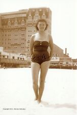 1940s-60s Sepia (4 x 6) Repro Semi Nude Pinup RP- Bathing Beauty Swimsuit- Hotel