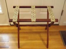 Vintage Scheibe Turned Wood Folding Luggage Stand Rack 3 Rose Straps