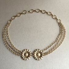 VINTAGE 60s Metallic GOLD Daisy FLOWER Chain LINK Eloxal WAIST Hip DISCO Belt