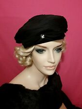 Vintage hat black cocktail beret  1950 1960 pleated bow rhinestone