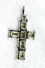 Natural Citrine Gemstone Gem Stone PURE Sterling Silver Christ Christian Cross