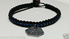 Thin Blue Line Cop Wife Microcord Bracelet, Police Wife Dangle & Bead Closure