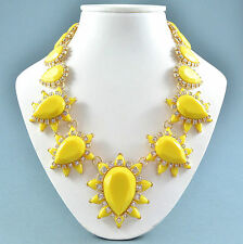 Bold Vintage Style Statement Necklace Yellow Resin & Clear Crystal Goldtone