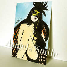 "SMALL ORIGINAL SEXY ART PICTURE WATERCOLOR and INK PAINTING ""NUDE WOMAN"" ACEO"